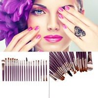 New Arrival 20 Pcs Professional Makeup Cosmetic Blush Purple Brush With Coffee Hair Blusher Foundation Powder