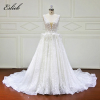 Sheer Back Sexy Sweet Flower Pearls Lace Bodice A Line Wedding Dress V Neck Button Back