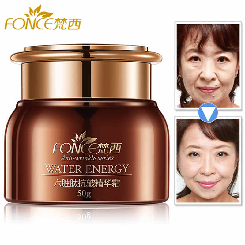 Fonce Korea Anti Penuaan Kerut Remover Wajah Krim Kulit Kering Hydrating Facial Lifting Firming Day Night Cream Peptida Serum 50G