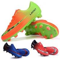 2016 Yeni Erkek Kız Futbol Çizmeler Erkekler Kadınlar Unisex Çocuk Futbol Çizmeler Voetbalschoenen Eğitmen Spor Sneakers Cleats Futbol Ayakkabı