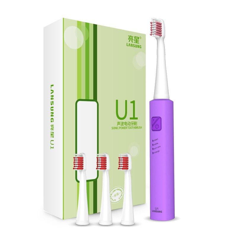 LANSUNG U1 Ad Ultrasuoni di Sonic Spazzolino Da Denti Elettrico Carica USB Ricaricabile Spazzolini Da Denti Con 4 Pz Teste di Ricambio Timer Pennello