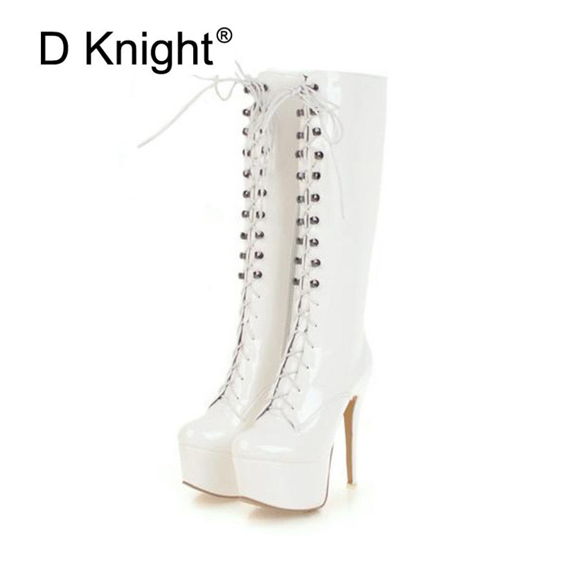 Sexy Patent Leather Thin Heels Women Knee High Boots Big Size Ladies Platform High Heels Pole Dancing Boots Women Mid-Calf Boots women boots sexy ladies high heels tall boots patent leather platform shoes over the knee boots for women red pole dancing boots