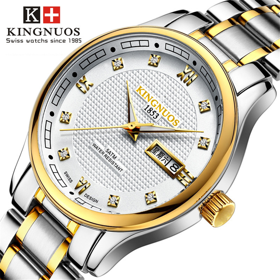 KINGNUOS Stainless Steel Watch Business Men Wrist Watches Weekly Calendar Ultra-thin Waterproof Dial Clock Male Quartz Watch geneva men s large dial cool quartz stainless steel business wrist watch