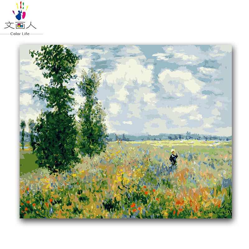 Poppies field Monet painting by numbers handmade coloring drawing pictures canvas paintings by numbers on canvas with colours