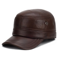 Harppihop Mens genuine leather baseball cap brand new winter warm real cow caps hats