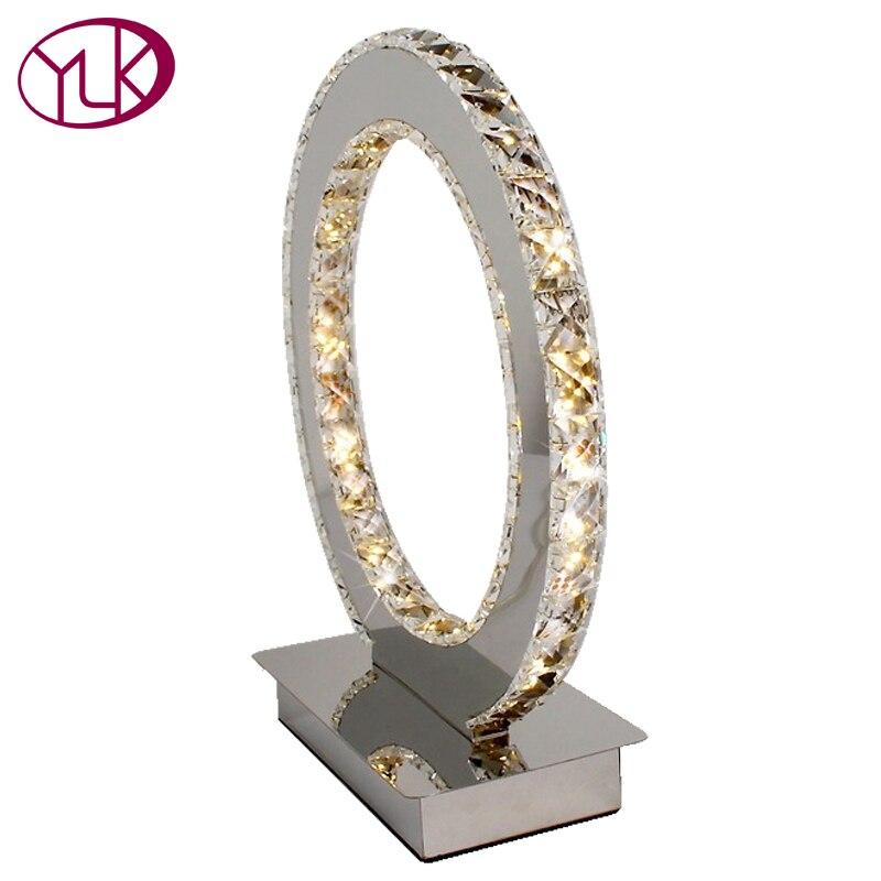 Новый современный круглый Crystal светодио дный настольные лампы кольцо с бриллиантом бюро свет помимо освещения Бесплатная доставка Dia19 * h23cm