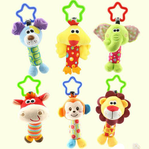 6 Styles Newborn Baby Infant Cute Stuffed Animal Handbells Baby Rattle Developmental Bed Bells Toys Crib Bed Hanging Plush Toy newborn baby cute plush bed stroller cartoon elephant lion hanging toy infant rattle grasp educational toy toddler crib product