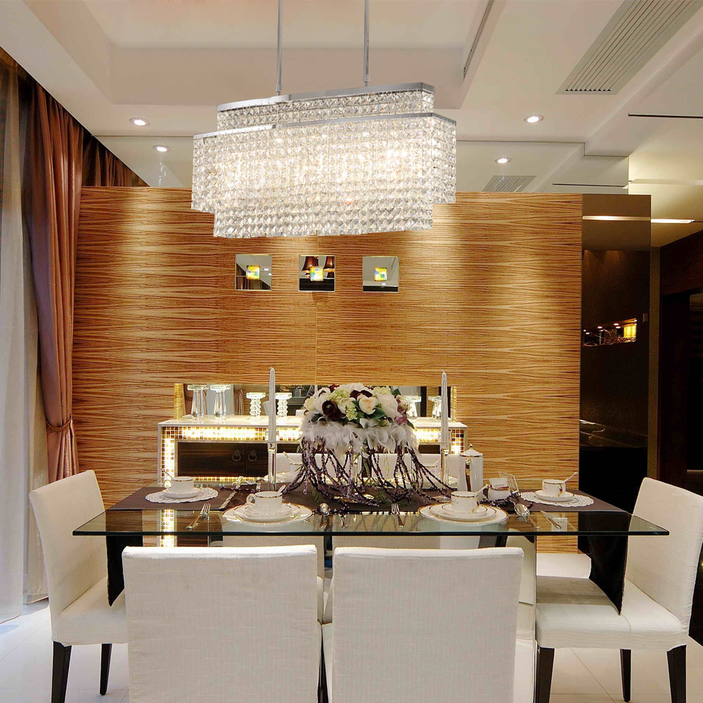 LED Lights Modern Rectangle Crystal Chandelier For Dining Room Hanging Indoor LED Lighting Fixture Lustres De Cristal Lamp