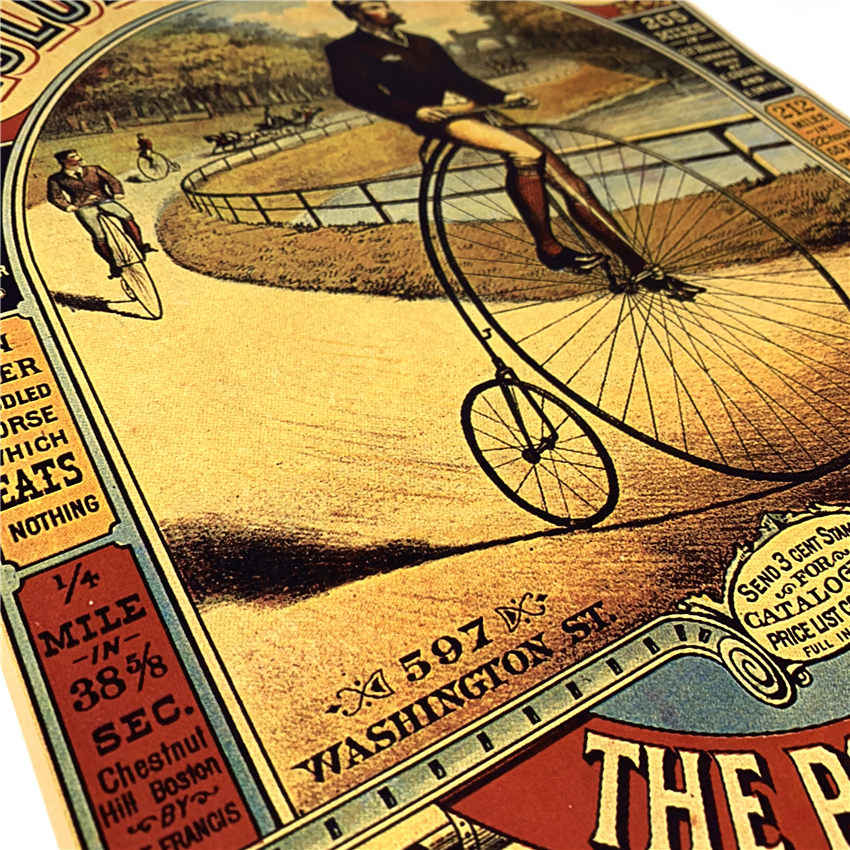 Fiets Vintage Papier Poster Retro Muur Art Woonkamer Print Foto Bar Cafe Pub Verf Core Sticker 42x30 cm GGB071