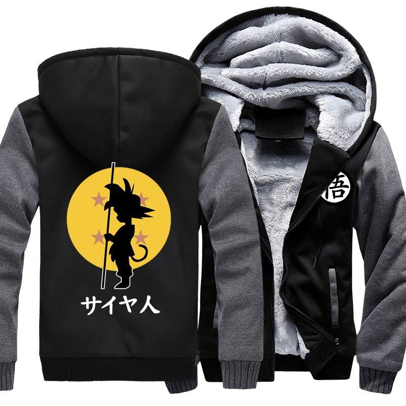Prix de gros Japonais Anime Dragon Ball Son Goku Hoodies Hommes de Veste Épaisse Toison Fermeture Éclair Veste Sweat Manteau