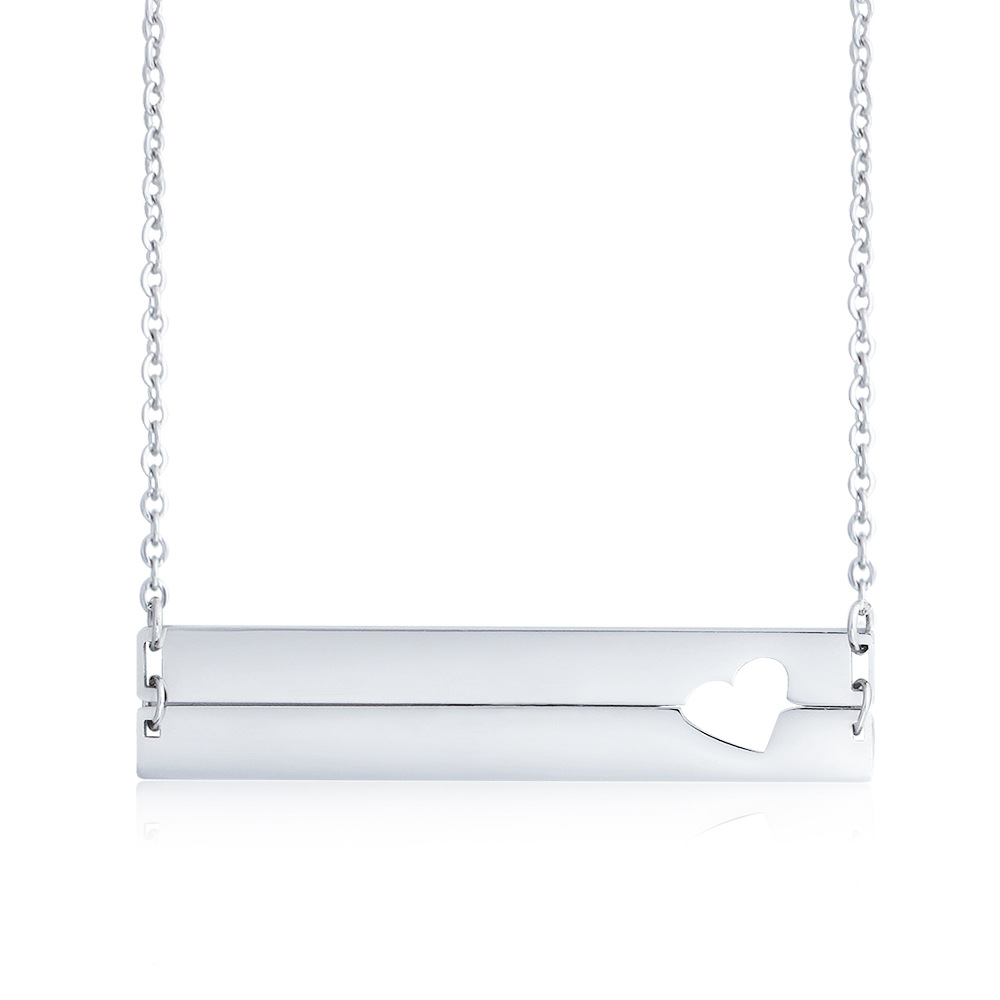 c4e201ce9 BeUrSelf Custom Name Necklace Love Heart Stainless Steel Necklace  Personalized Engrave Initial Date Double Bar Lover Family Gift-in Pendant  Necklaces from ...