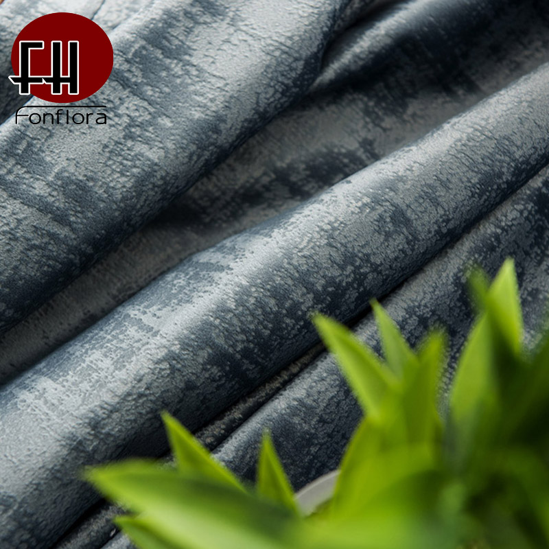 Luxury Dutch Velvet Blackout Curtain For Living Room Bedroom Curtain Vintage Blue Gray With Beads Custom Window Treatments