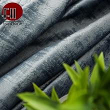 Cortina opaca de terciopelo holandés de lujo para sala de estar dormitorio cortina Vintage azul gris con cuentas tratamientos de ventana personalizados