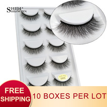 SHIDISHANGPIN 50 pairs natural long false eyelashes fluffy 3d mink lashes make up 100% cruelty free fake eyelash faux cils G805