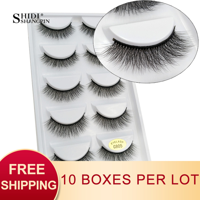 SHIDISHANGPIN 50 pairs natural long false eyelashes fluffy 3d mink lashes make up 100% cruelty free fake eyelash faux cils G805