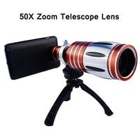 1 шт. 50X длиннофокусный Объектив штатив телефото оптический мобильного телефона Камера для samsung galaxy s6 s7 edge металлический Алюминий с чехлом