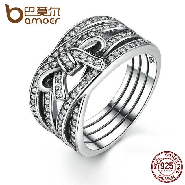 BAMOER Новые Классические 925 пробы серебро большой бант с узлом тонкие чувства кольцо на палец для Для женщин свадебные Fine Jewelry PA7189