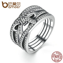 BAMOER New Classic 925 Sterling Silver Big Bow Knot DELICATE SENTIMENTS RING Finger Ring For Women Wedding Fine Jewelry PA7189