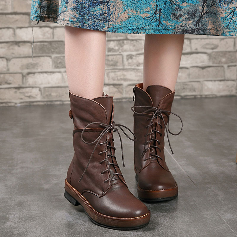 Casual handmade shoes original retro Martin boots round head side zipper layer cowhide fluffy warm boots autumn and winter giftman