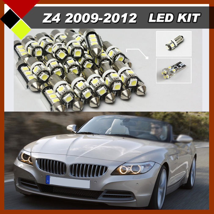 Free Shipping Car Interior Bulbs SMD LED Kit Package White No Error Lights 12V Easy Insulation Suit For 2009-2012 BMW Z4 E89 free shipping 60 17x a4 s4 b5 1998 2001 white led lights interior package kit canbus