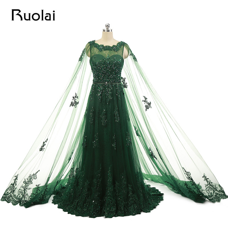 Real Photo Dubai   Evening     Dresses   Scoop A-Line Tulle Appliques Beaded Sweep Train   Evening   Party Prom   Dress   with Shawl ASAFN7