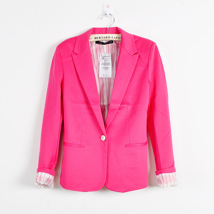 ZA Candy Color New Collection Stylish Womens One Button Tunic Foldable Sleeve Coat Suits Jackets-BZ Z0002 NEW XL