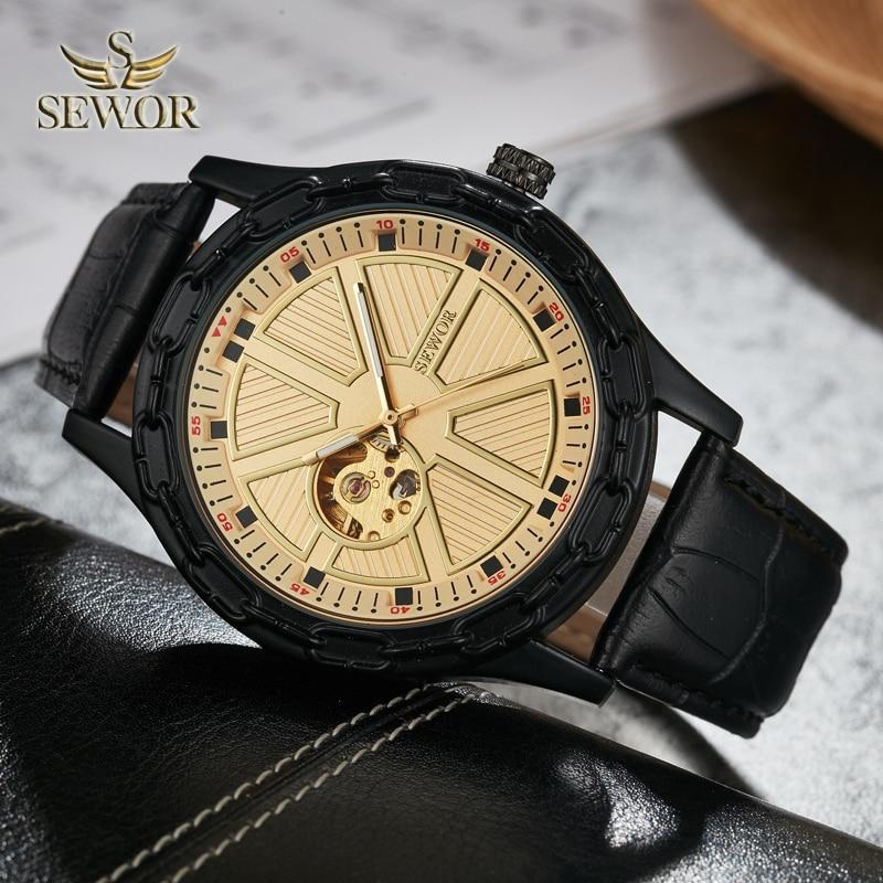 SEWOR 2019 TOP LUXURY MARKA MODA Chalet jarzma kształt GLOD BLACK - Męskie zegarki - Zdjęcie 3