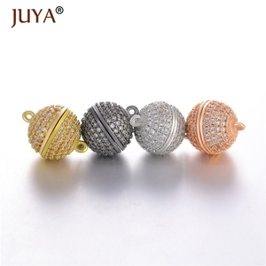 Image 5 - JUYA 10ps Wholesale Luxury AAA Zircon CZ Pave Ball Magnetic Clasps Hooks For Necklace Bracelet End Beads Chain Clasp Findings