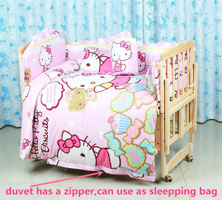 Фото Promotion! 6PCS Cartoon 100% cotton curtain crib bumper baby cot sets baby bed bumper (3bumper+matress+pillow+duvet). Купить в РФ