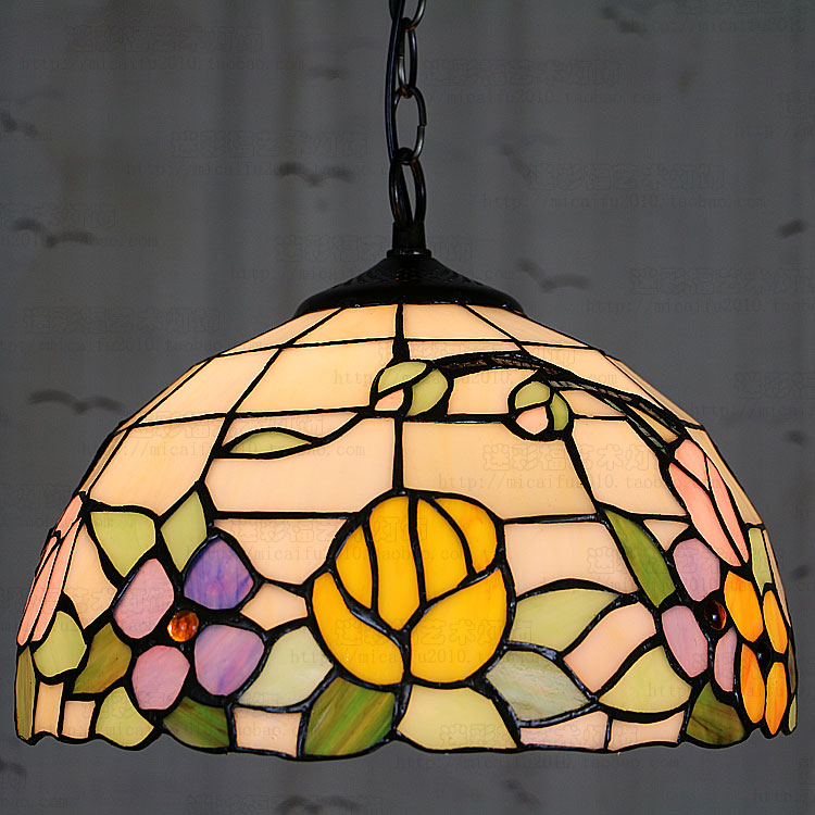 Здесь можно купить  12 Inch Flesh Country Flowers Tiffany pendant light  Stained Glass Lamp for Bedroom E27 110-240V  Свет и освещение