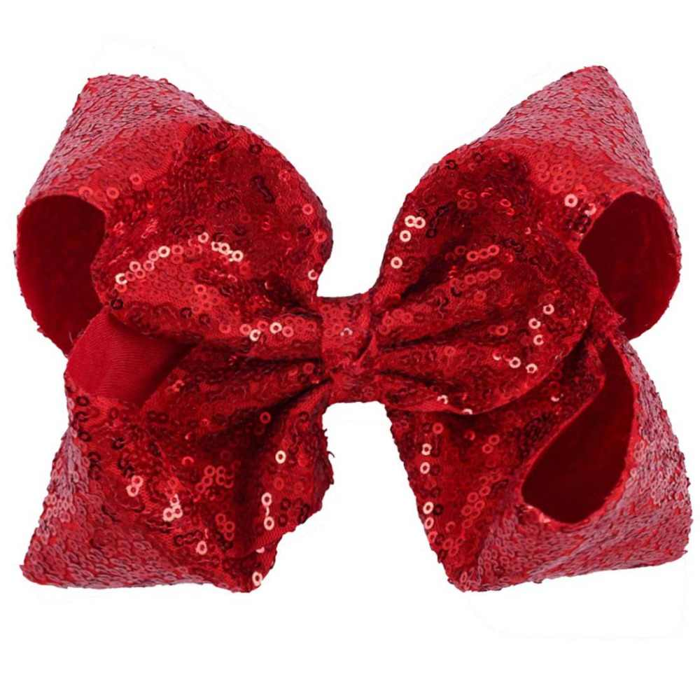 8 pulgadas lentejuela grande moño para cabello con Clip para niñas hecho a mano Bling Knot Jumbo bow Hairgrips cinta de lentejuelas para accesorios de cabello DIY