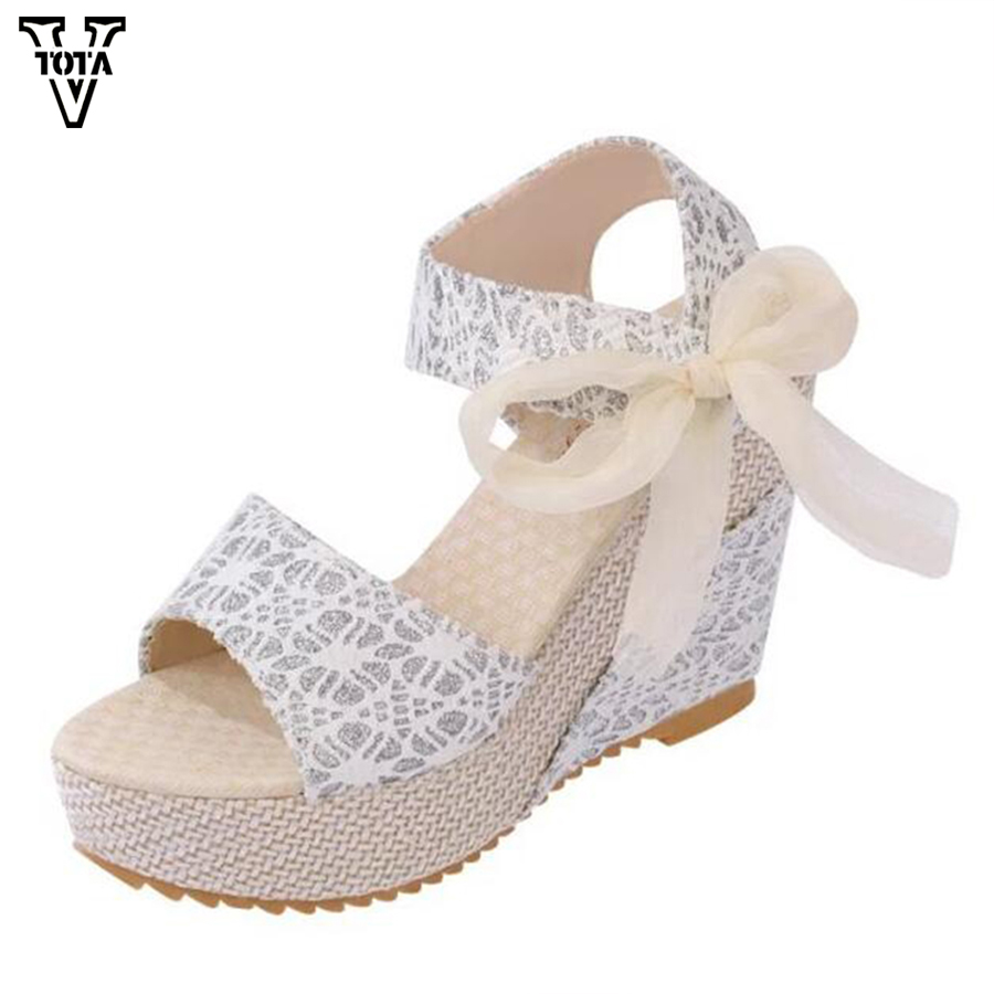 VTOTA New Summer sandals women  shoes woman Platform Wedge Sweet Flowers Buckle Open Toe Sandals Floral high-heeled Shoes Q75 vtota summer pep toe sandals women increased thick heel shoes woman wedge summer shoes back strap platform shoes for ladies