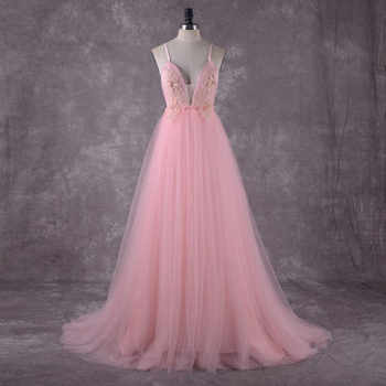 2019 Pink Spaghetti Straps with Delicate Appliques Tull Wedding Dress Sexy Bride Dress Backless vestido de noiva princesa - DISCOUNT ITEM  40% OFF All Category