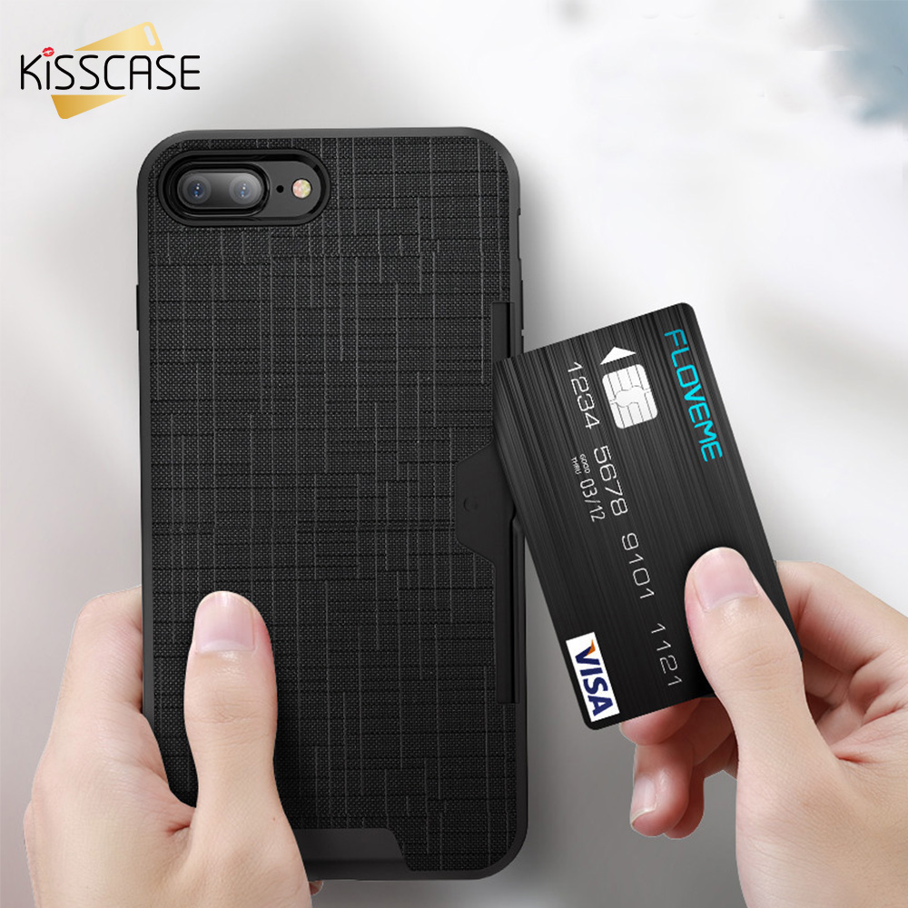 FLOVEME 2 in 1 Card Slot For iPhone 6 6s 7 Plus Case Armor Phone  Fashion Cross Accessories Coque