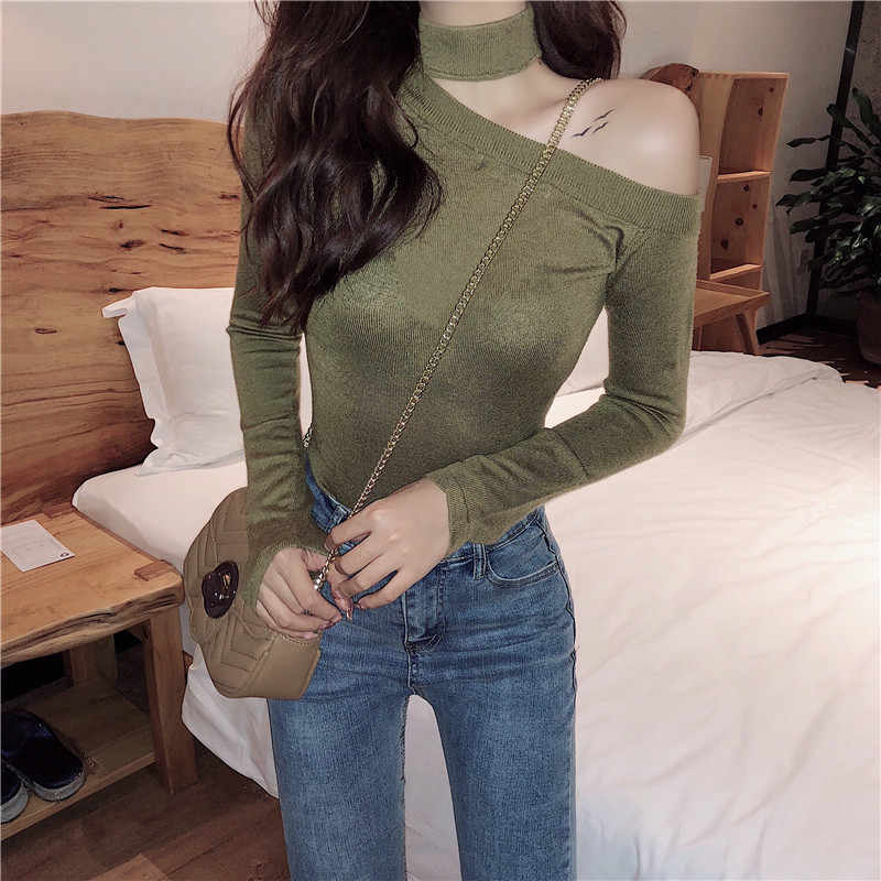 Colorfaith, женские пуловеры, свитер, 2019, вязанный, на осень и весну, модный, сексуальный, с открытыми плечами, элегантные женские топы SW9989