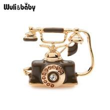 Wuli&baby 2019 Retro Black Brown Enamel Telephone Brooch Pins  Women Men Costumes Accessories Bouquet
