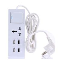 Smart USB Power Strip Socket EU Plug Overload Switch Surge Protector 1 Outlet 4 Port USB
