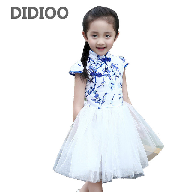 cc1c82fd9d0 US $16.99 |Children Tulle Dresses For Girls Cheongsam Chinese Style Floral  Print Girls Dresses Qipao Summer Princess Party Dresses Vestidos-in Dresses  ...