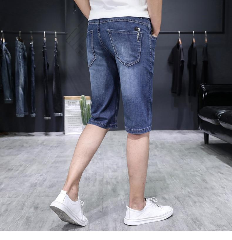 KSTUN Jeans for Men Summer Denim Short Pants Light Blue Elasticity Ultrathin Slim Fit Men's Clothes Man Jeans Brand 2018  Homme 17