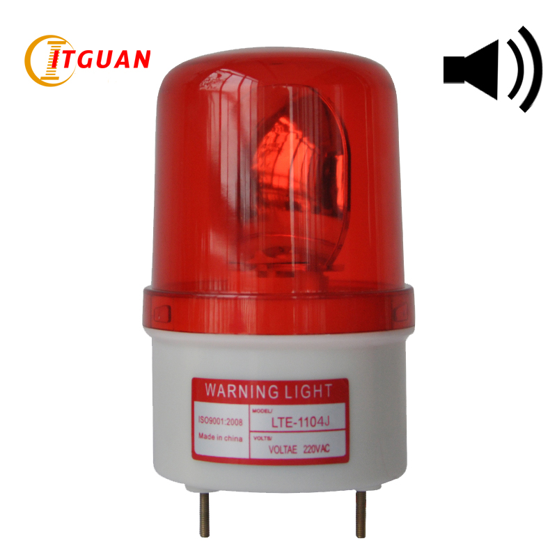 Industrial Incandcent Warning Light LTE-1104J 90dB Sound Alarm Rotating 10W Emergency Warning Lamp Red Yellow Blue Green Color lta 205j 2 dc12v 2 layer tower light signals bulb warning lamp alarm 90db red green u bottom