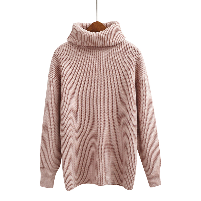 Buy Women Pink Retro Turtleneck Sweater 2017 Winter Autumn Pullover Sweaters Solid Knitted Sweater for Female High quality Sweaters for $19.14 in AliExpress store