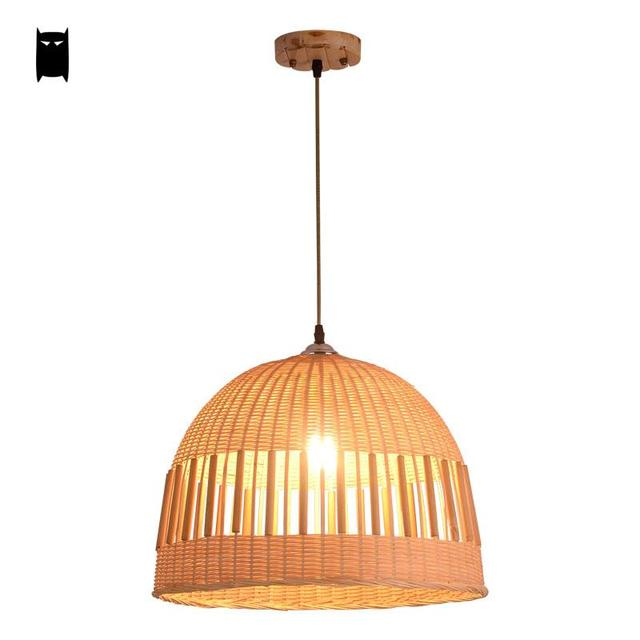 Design Bamboo Wicker Rattan Variety Shade Pendant Light Fixture Rustic Korean Japanese Tatami Suspended Lamp Dining