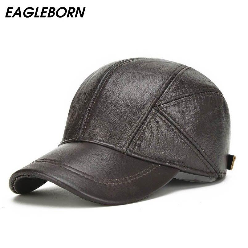 Gorra de béisbol de cuero genuino de 2018 de Eagle born para hombre con  alerones de oreja clásica nueva moda negra marrón Gorras papá en Gorras de  béisbol ... 83db79fb8ca