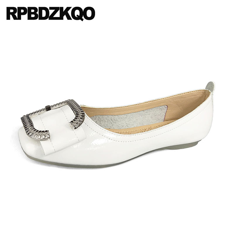 drop shipping wide fit shoes ladies metal large size slip on 2018 white square toe chinese china flats women pink beautiful