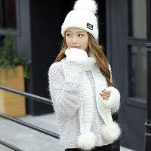 Новая шерстяная вязаная шапочка с помпонами+ длинный шарф+ шерстяные перчатки, комплекты для девочек старше 10 лет, модные женские костюмы с капюшоном и воротником, шапки