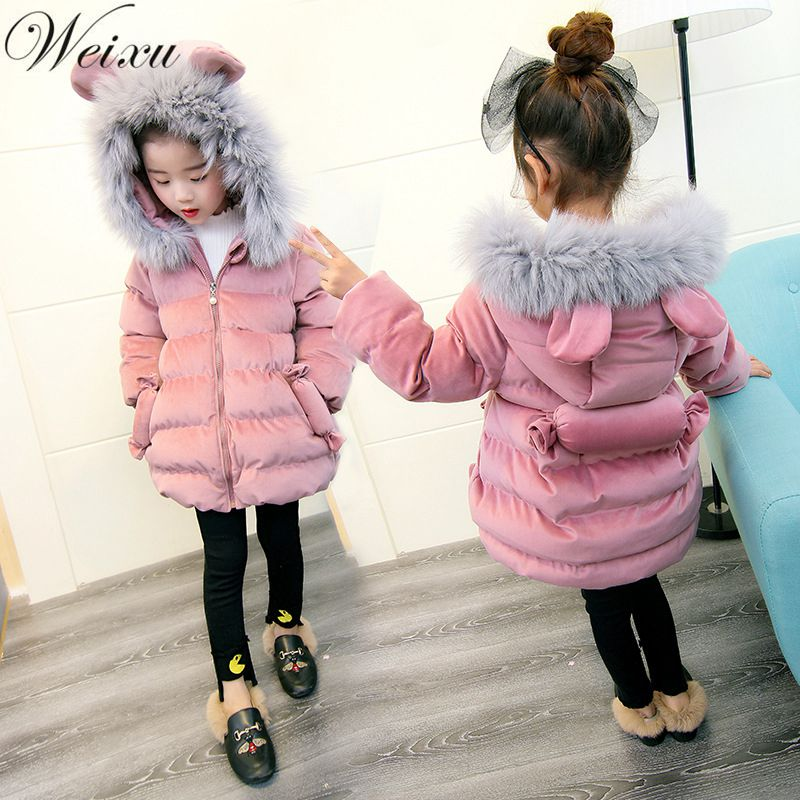 Winter Jackets for Girls Kids Fashion Candy Decorate Baby Parka Coats Thick Fleece Warm Children Thick Warm Princess Outwear
