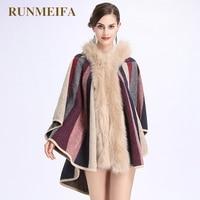 RUNMEIFA 2018 новые модные женские шаль цветок солнца как меха лисы шаль с капюшоном плащ трикотажные пальто кардиган