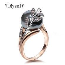 Кольцо женское с серым жемчугом и фианитом модное ювелирное