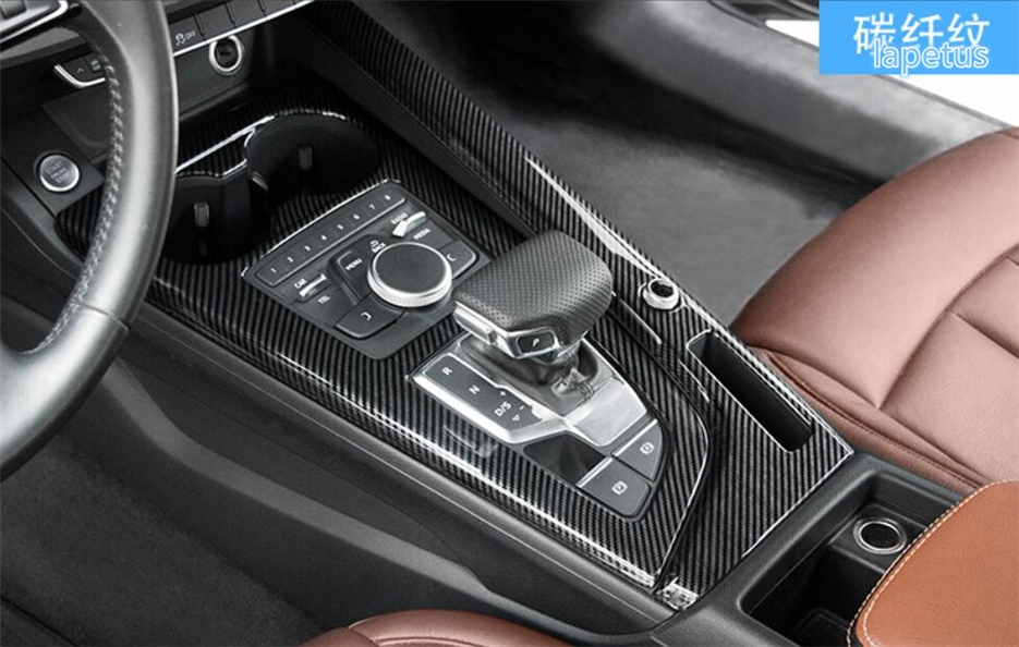 Lapetus Carbon Fiber Style Gear Shift Box Decoration Cover Trim Fit For Audi A4 B9 Sedan / Avant / Allroad Quattro 2016 2019