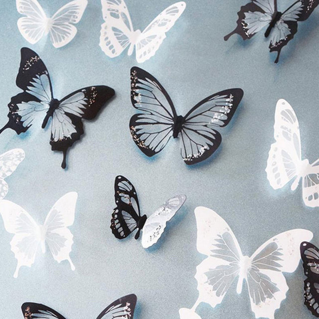 3d Effect Crystal Butterflies Wall Sticker Beautiful Butterfly Home Decoration On the Wall